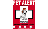 pet alert fire sticker