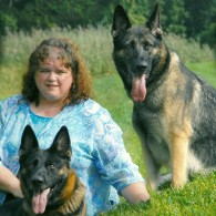 Brenda and her two German Shepherds, Ariel and Garnet