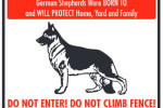 German Shepherd Private Property No Trespassing sign