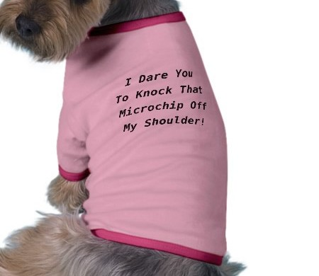 Dog wearing a micro-chip t-shirt.